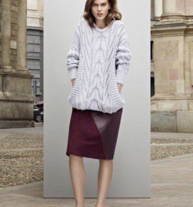 Stefanel кожаная замшевая юбка бордовая оригинал
