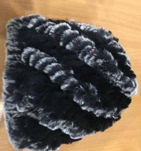 Новая шапка , натуральный мех кролик рекс