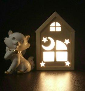 Детский ночник Луна, деревянный ночник звездочка.