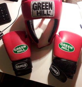Перчатки и шлем для бокса детские GREEN HILL