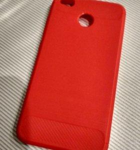 Чехол для Xiaomi Redmi 4X под карбон красный