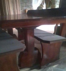 Стол с лавочками из масива 185 на 80