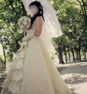 Свадебное100% золотая парча