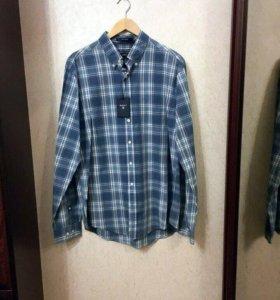 Gant новая голубая рубашка в клетку