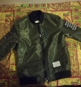Куртка бомбер(двухсторонняя) не ношенная