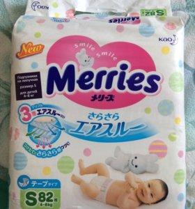 Подгузники Merries размер s.