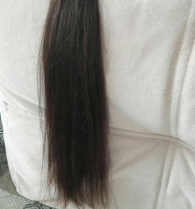 каштановые волосы на заколках 55см