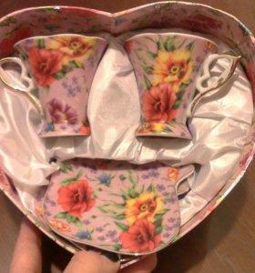 Набор из двух кофейных пар в коробке ввиде сердца