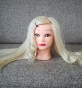 Голова учебная новая натуральн манекен с волосами