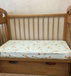 Кроватка (г.Можга)с маятником и матрасом Plitex