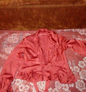 Пиджак с поясом+юбка с вставками костюм