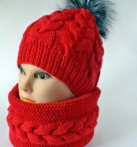 Стильный теплый комплект шапочка и снуд