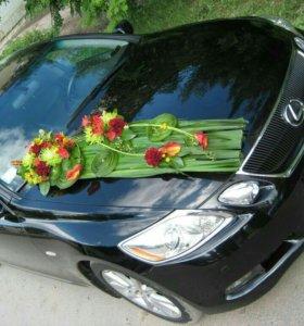 Декор авто живыми цветами