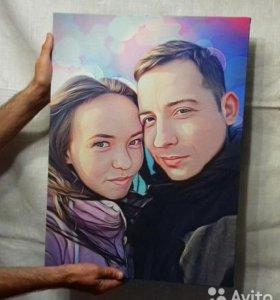 Портреты, картины к 8 Марта - эскизы бесплатно