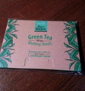 Матирующие салфетки для лица с зелёным чаем 100 шт