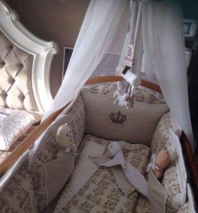 Комплект в кроватку, подушки- бортики, балдахин