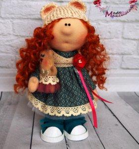 Текстильная интерьерная кукла с мишкой