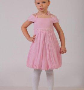Платье розовое,р-р 122,р-р 140