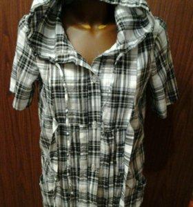 Блузка- рубашка в клетку с капюшоном