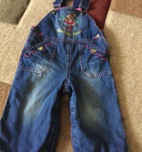 Утеплённый джинсовый комбинезон 86 см Gloria