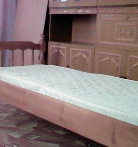 кровать нат.дерево с жаккардовым матрацем