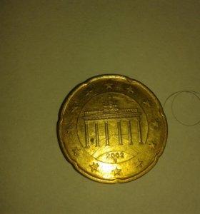Монета 20 euro cent 2002 Бранденбургские ворота