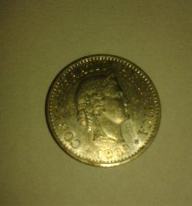 Монетка 10 раппен 1999