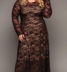 Платье в пол кружевное 60 размер