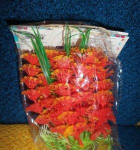Пластиковое растение в аквариум 12 см.
