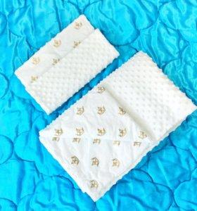 Плед одеяло с наволочкой в детскую кроватку