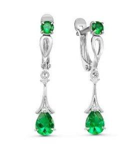 Серьги серебро висячие с зеленым камнем