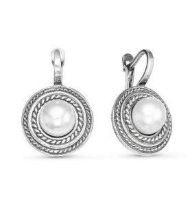 Серьги серебро с жемчугом