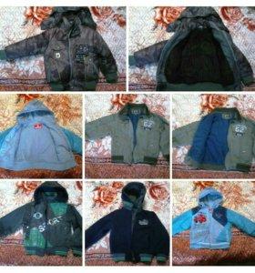 Куртки, ветровки и зимний костюм на мальчика
