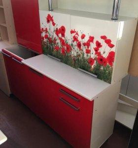 Кухня Акварель 1600 фотопечать маки