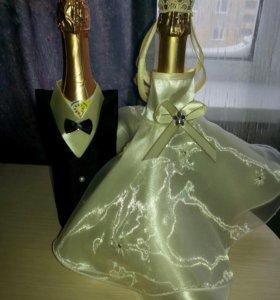 украшения для свадебных бутылок