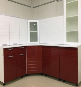 Кухня Линда МДФ 1,35*1,85 (белый гранат