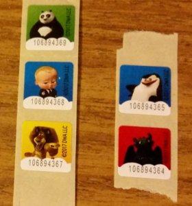 Наклейки (Магнит), карточки миньонов
