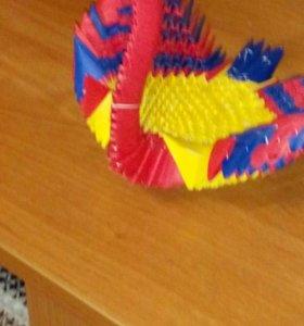 Лебедушка из бумажных треугольников