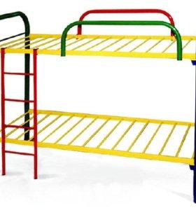 Двух-ярусная, металлическая кровать