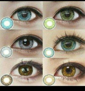 Цветные линзы, увеличивают глаза.Корея.