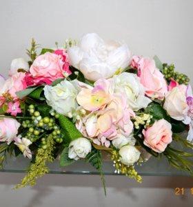 цветочная композиция в розовом цвете