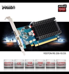 Видеокарта R5 230 ddr3 1gb новая HD 6450
