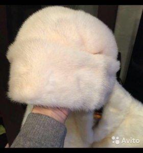 Новая норковая белая шапка