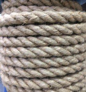 Веревка джутовая 3 прядная 16 мм.