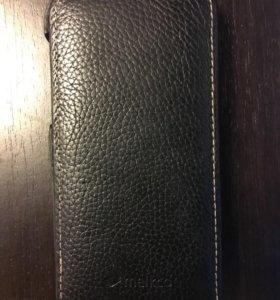 Чёрный кожаный чехол melkco для iPhone 5/5S