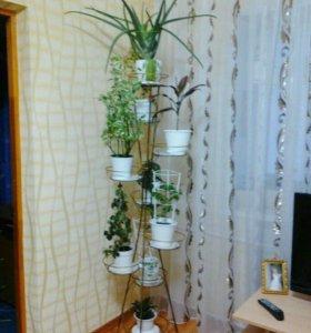 Металлическая подставка для цветов на 9 горшков