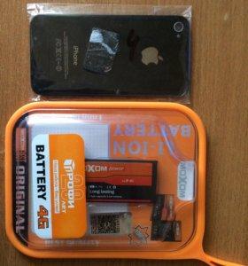 Задняя крышка и батарея на iPhone 4.