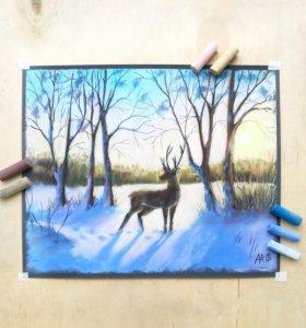 "Картина ""Зимний пейзаж с оленем"""