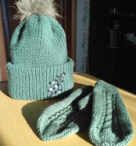 Продам вязаные рукавички и шапку
