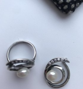 Кольцо и подвеска с жемчугом серебро